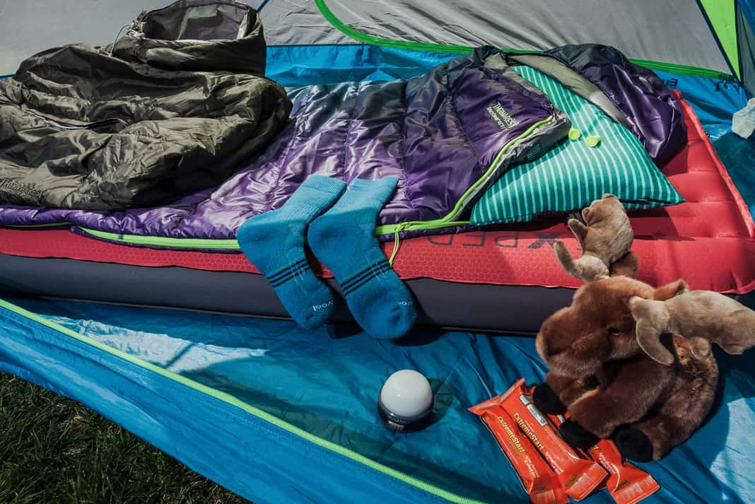 tent with gear inside