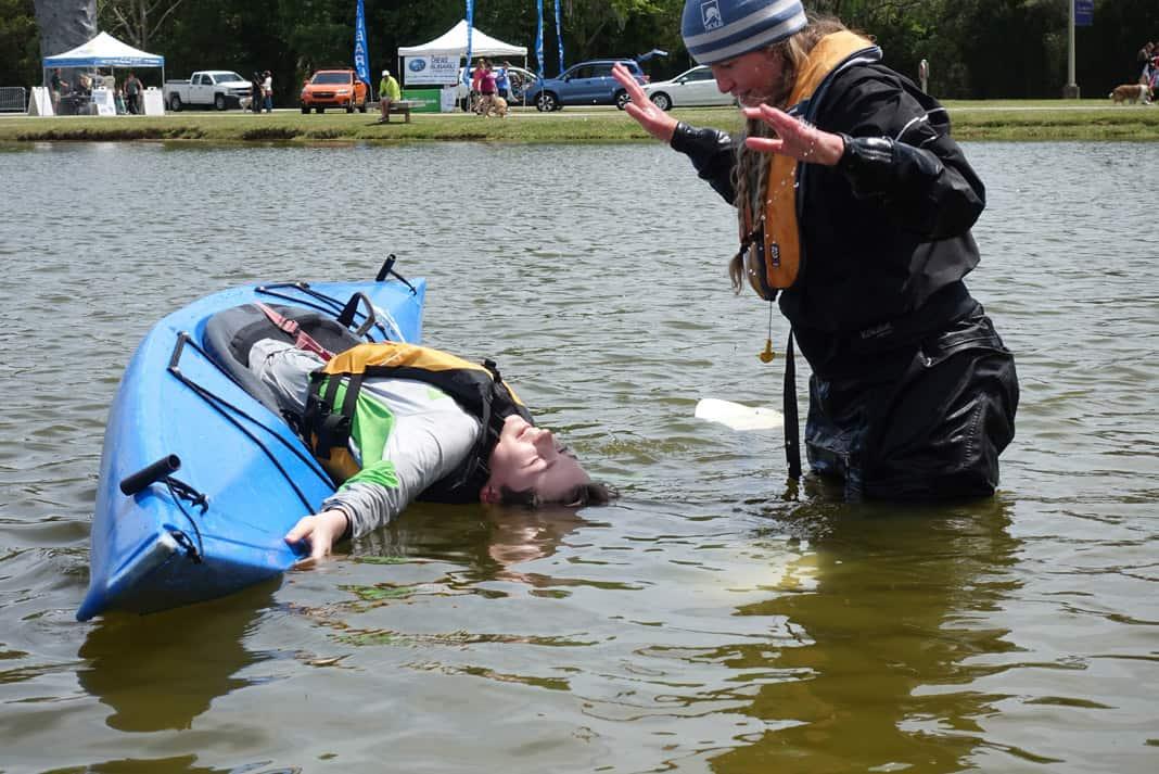 Doug MacGregor in a kayak practicing his roll