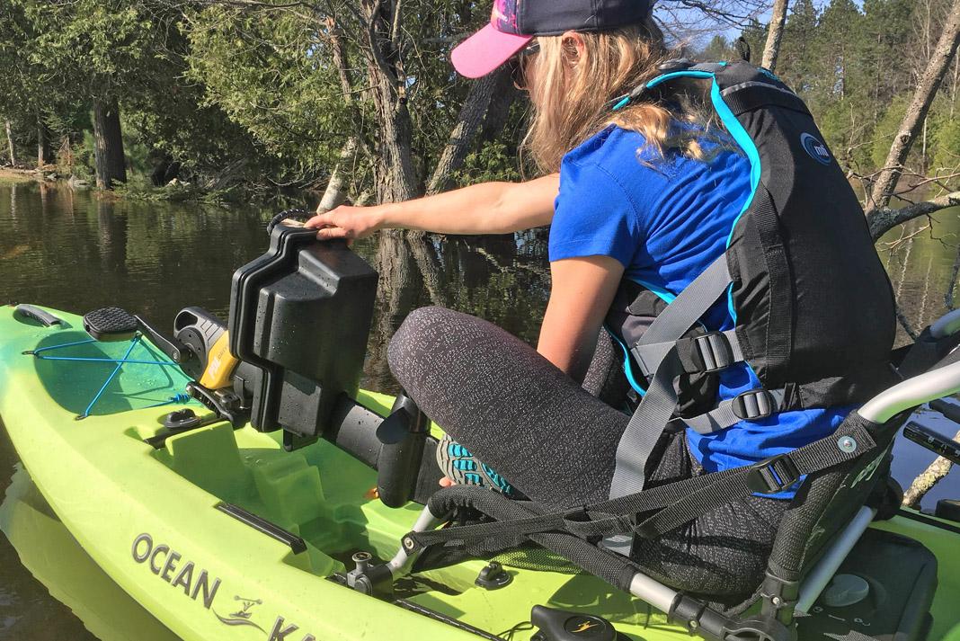 woman in ocean kayak