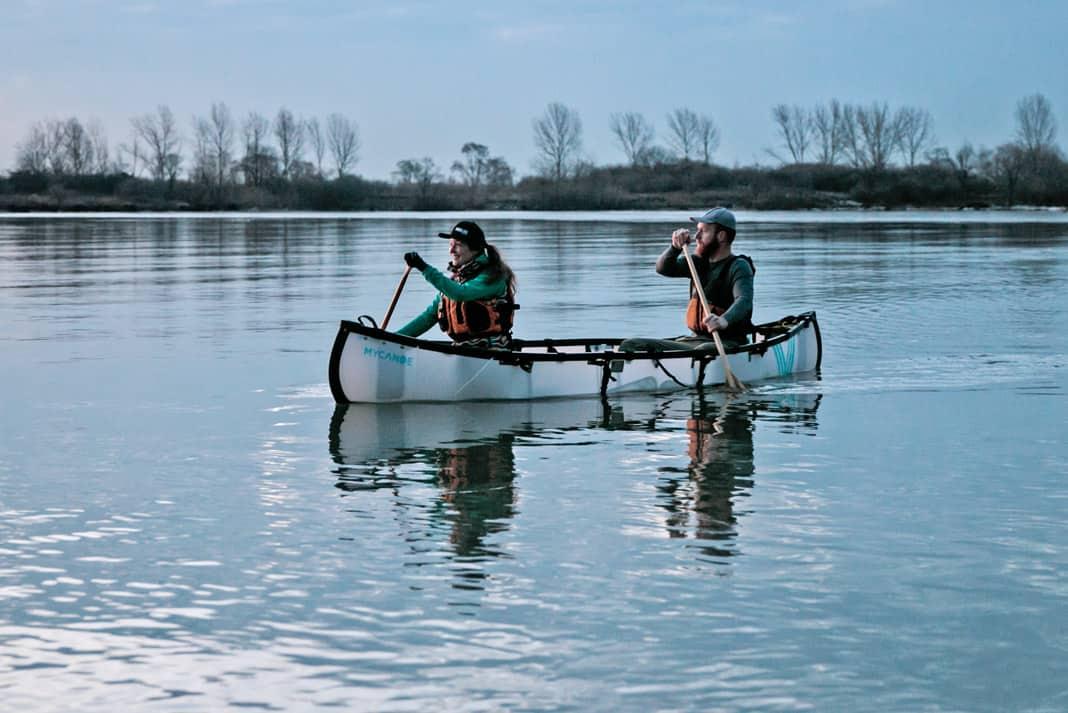 Kaydi Pyette and Geoff Whitlock paddling MyCanoe's folding Plus Model Canoe