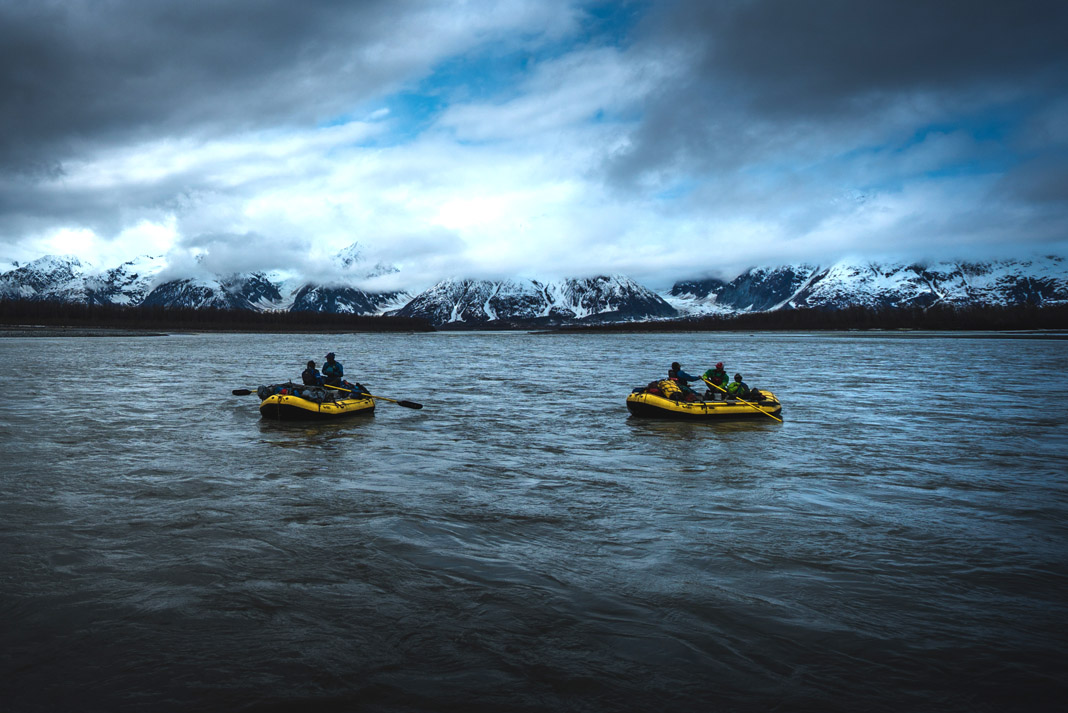 two rafts with paddlers on the Tatshenshini River